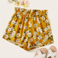 Bohemian Ginger Frilled Trim Elastic Waist Floral Print Shorts Women High Waist Beach Style Casual Shorts