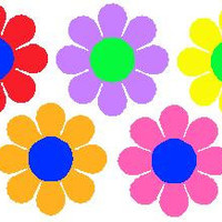 """One 12"""" Large or One 6"""" small Flower With Center  VW Flower Power Ricky Ticky Stickies Decals For Your Car, Large Flower"""