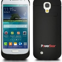 PowerBear® Samsung Galaxy S4 Mini i9190 (Not for Galaxy S4 Active) Extended Rechargeable Battery Case with 2800mAh Capacity (Up to 125% Extra Battery) - Black [24 Month Warranty & Screen Protector Included]