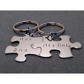 Couples Keychains, Her One His Only Puzzle Keychains His Hers Keychains , Anniversary Gift