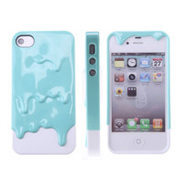 3D Melt Ice-Cream Skin Protect Hard Case Cover For Apple iPhone 4 4S Mint Blue