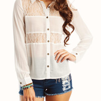 lace-inset-high-low-blouse IVORY - GoJane.com