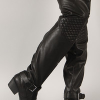 Qupid Trevor-32 Quilted Buckle Thigh High Boot