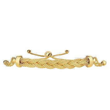 14K Yellow Gold Round Diamond Cut Wheat Adjustable Bracelet With Arched Braided Fox Center, 9.25""