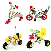 Alloy Vehicle Blocks Children Model Cars Kits Assembling Tricycle Motorcycle Scooter Police Tricycle Educational Toy