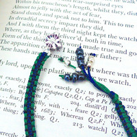 Macrame Bookmark with silver plated Gift box charm and Beads, booklover gift
