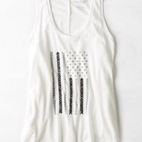 AEO Women's Graphic Muscle Tank (Cream)