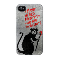 Banksy Rat Out of Bed Full Wrap Premium Tough Case for iPhone 4 / 4s by Banksy