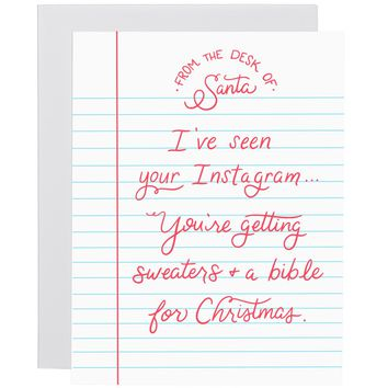 I've Seen Your Instagram letterpress card