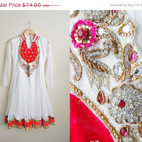 SALE Vintage Sari Sequin Beaded Mesh Flowing White Pink Dress