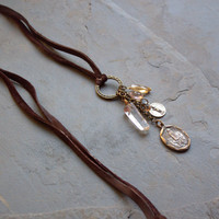 Long Suede Charm Necklace Antique Brass Ring Dangle Charms Suede Cord Sundance Style Inspired Long Pendant Necklace Religious Medals