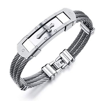 Men's Cross Stainless Steel Bracelet