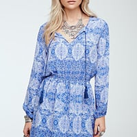 Mosaic Print Peasant Dress