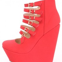 Red Strappy Platform Wedges Nubuck Faux Leather