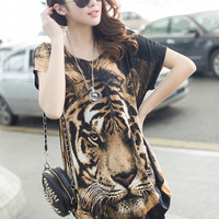 Tiger Head Print Short Sleeve Shift Mini Dress