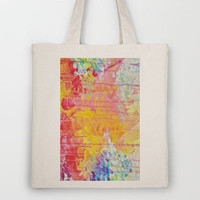 SUN SHOWERS - Beautiful Pastel Coloful Rain Clouds Bright Sky Abstract Acrylic Painting Tote Bag by EbiEmporium | Society6
