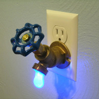 Blue LED Faucet Valve night light