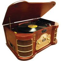 PYLE HOME PTCDS2UI Classical Turntable with iPod(R), CD & Cassette Player, AM/FM Radio & USB Recording