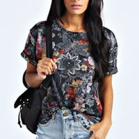 Betty Floral Marl Turnback Tee