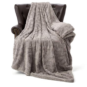"""HT&PJ Luxury Fur Fleece Throw Blanket Reversible Comfy Sherpa Fleece Comforter Faux Fur Style Made of Fluffy Plush for Living Room Decor Bedroom Blanket Couch Sofa Cover (Purple Grey, 50""""X60"""") Purple Grey 50""""X60"""""""
