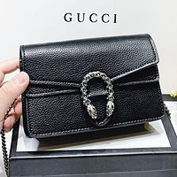 GUCCI Fashion New Leather Shopping Leisure Chain Crossbody Bag Shoulder Bag Black