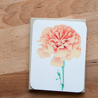 Marigold Eco Friendly Note Card Set, Stationery Set of 12 Flat Cards, Personalized Stationary, Orange and Pink Flower