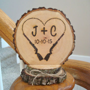 Wedding Cake Topper Rustic Rifles Hunting Heart Personalized