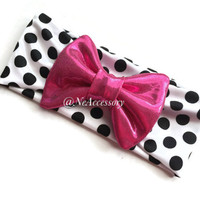 Infant Bow Headband, Infant Head Wrap, Hot Pink Bow On White and Black Head Wrap