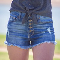 High Rise Insta Frayed Shorts