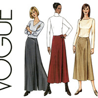 Vogue Pantskirt Pattern 7648 Uncut Size 18 20 22 Maxi Evening Palazzo Pants Front Wrap Gauchos Culottes Split Skirt Womens Sewing Patterns