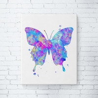 Gallery Wrapped Canvas - Watercolor Butterfly Art, Butterfly Illustration, Nature Wall Art, Butterfly Painting, Modern Wall Decor, Gift Idea