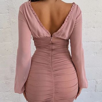 New women's sexy dress with long sleeves and deep V with wood ears