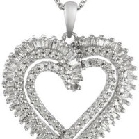 Sterling Silver Diamond Heart Pendant Necklace, 18 Inch (1/2 cttw)