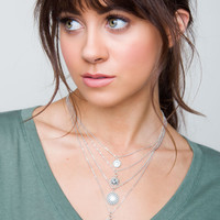 Tatum Layered Necklace Set - Silver