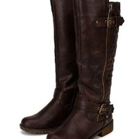 Nature Breeze Vivienne-01 Leatherette Quilted Knee High Riding Boot - Brown (Size: 10)