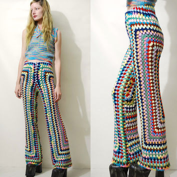 CROCHET Pants Rainbow Granny Square Flares Crochet Bell Bottoms Crochet Flares Knit Wool Pants Highwaisted Bohemian Hippie 70s Vintage XS S