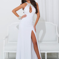 Front Keyhole Fitted Formal Prom Dress By Tony Bowls 114741