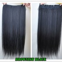 """8 Color 23"""" Straight Full Head Clip in Hair Extensions Wwii101 (Brown Black)"""