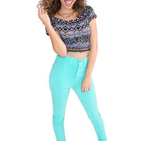 Get Rhythm High Waist Pants - Aqua