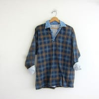 vintage long sleeve top. button front jean henley. blue and brown plaid denim collar.