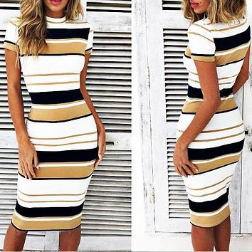 Fashionable retro striped, round collar, short sleeve, medium and long dress Only one piece Yellow