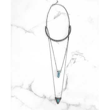 Triple Layer Stone Necklace - Turquoise Stone