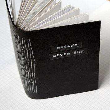 """Dreams Never End - Mini Journal - 3.5 x 4.5"""" - Mixed Paper Notebook"""