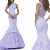 Sexy African Lavender Pearls Mermaid Prom Gowns Lace Appliques Halter Neck Long Evening Party Dresses Kaftan Vestido de festa