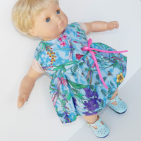 """Clothes Blue Pink Floral Dress Handmade for 18"""" american girl or 15"""" bitty baby"""