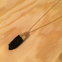 Black Tourmaline Layering Necklace- 24k Gold Tourmaline Pendant & 14k Gold Filled Chain