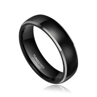 Mens Black Brush Center Tungsten Carbide Promise Ring Wedding Band