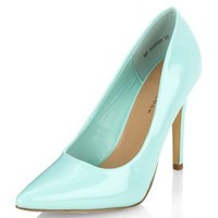 Mint Green Patent Pointed Court Shoes