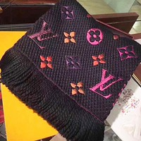 LV Louis Vuitton Classic Stylish Women Men Cashmere Cape Tassel Scarf Shawl Scarves Accessories Black