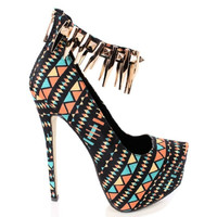 Nichola-2 Multicolor Tribal Pump Gold Spikes Stiletto Heels